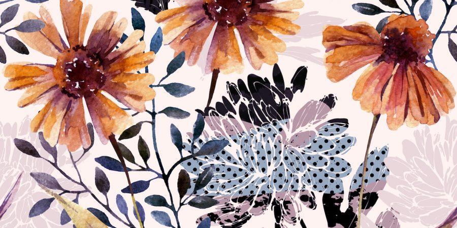 orange sunflower wallpaper in a painting design