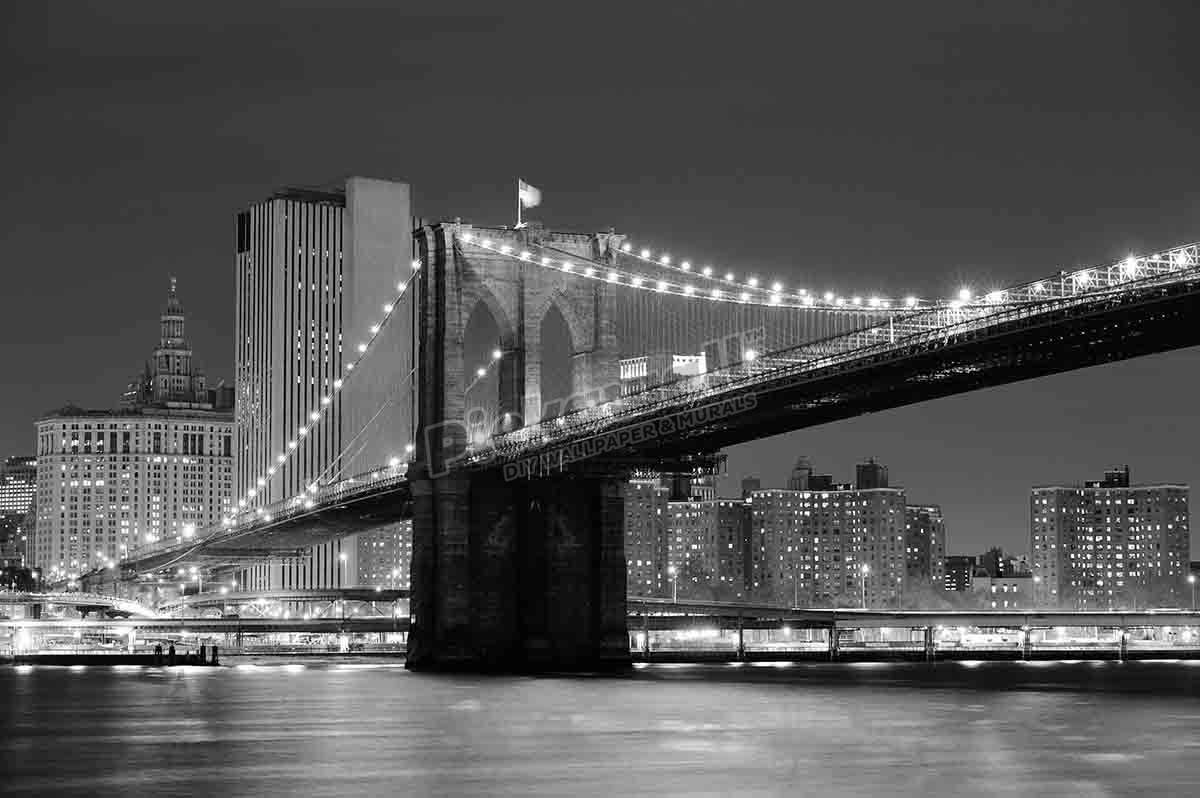 Brooklyn Bridge Black & White Looking Over The East River.