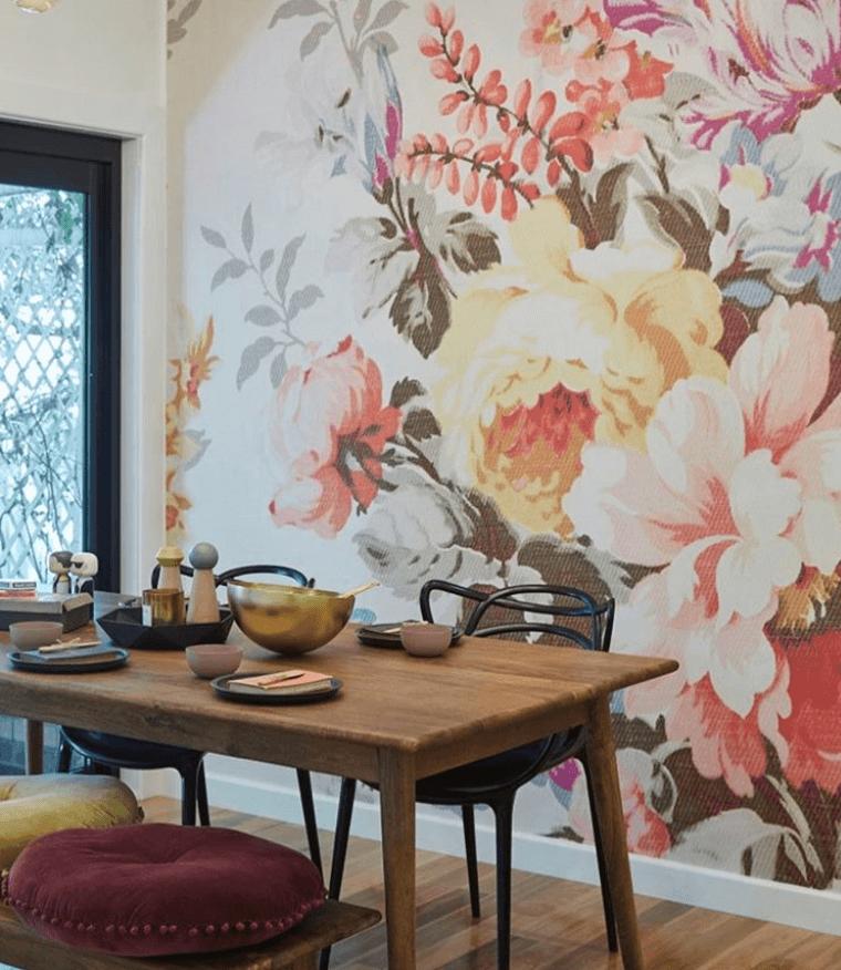 dining room flower wallpaper