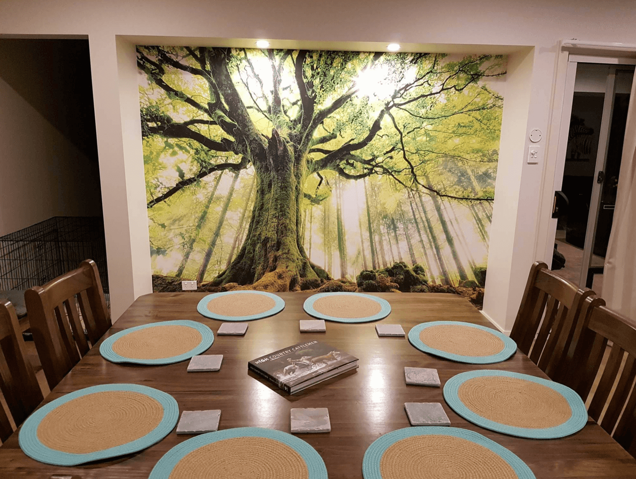 forest tree wallpaper in dining room