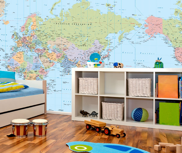 world map wallpaper in a kids room