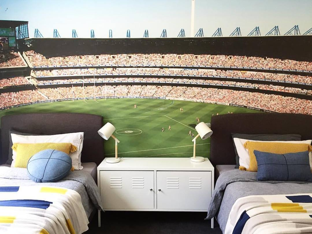 Melbourne Cricket Ground wallpaper in a kids room