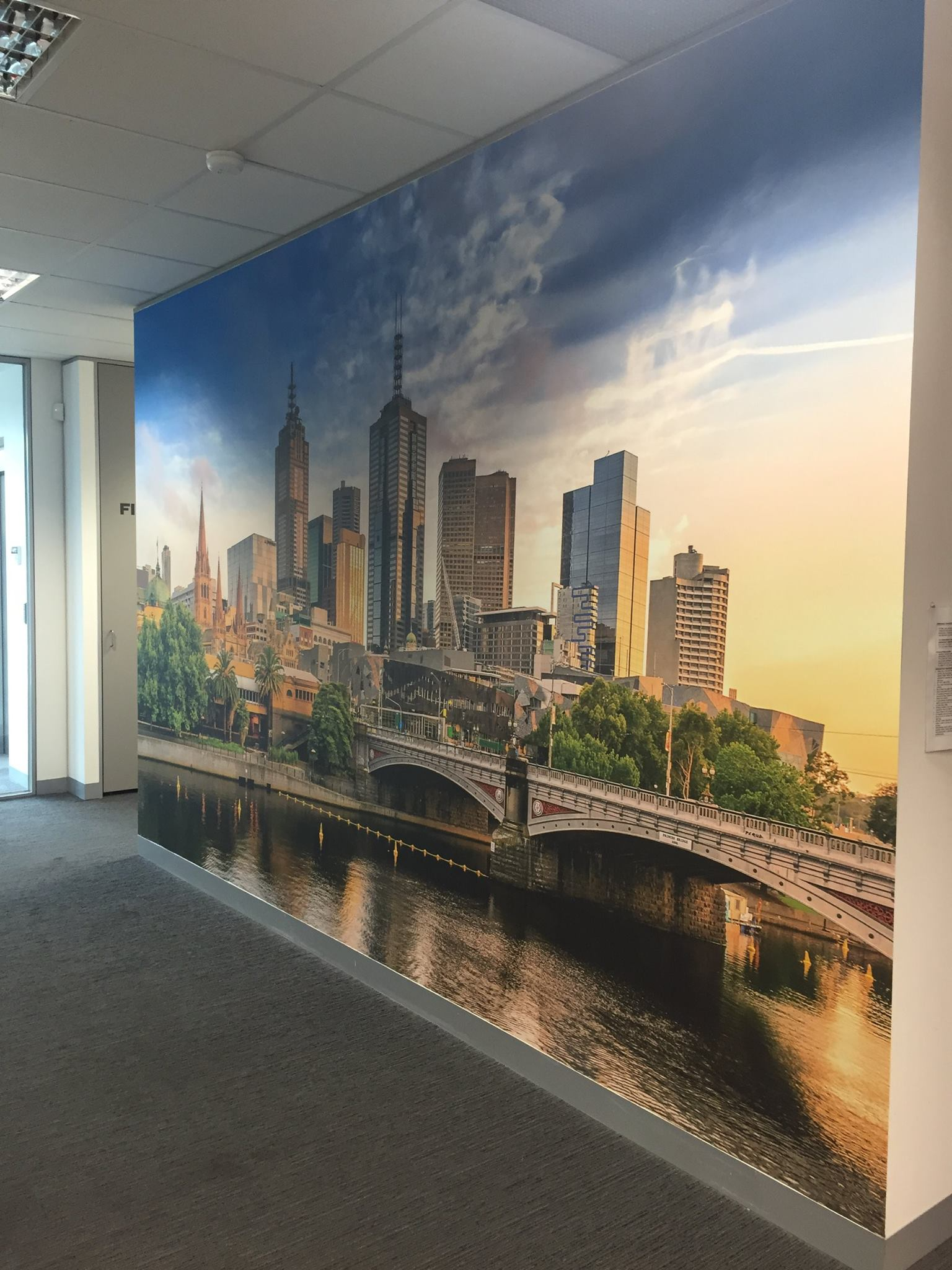 melbourne skyline wallpaper on an office wall